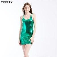 YRRETY сексуальное облегающее женское платье из искусственной кожи на бретельках без рукавов облегающее мини-платье сексуальное Клубное плат...