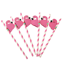 Cute Flamingo Disposable Party Straws Set
