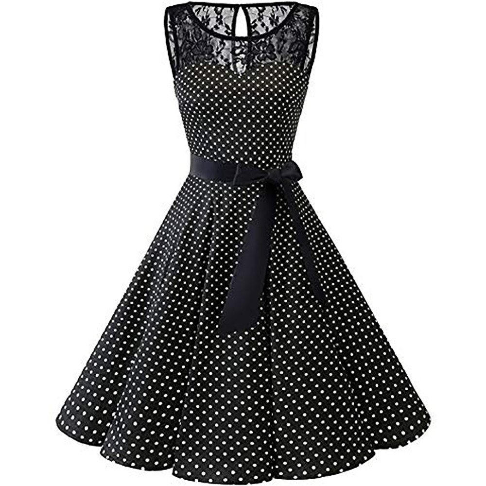 Sleeper #401 2018 Women Sleeveless Polka Dot Lace Hepburn Vintage Swing High-Waist Pleated Dress solid design hot Drop Shipping