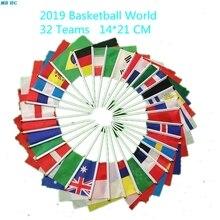 Ручные волнистые флаги с полюсом из баскетбольный мяч Слово Кубок 32 страны команды небольшой Бандер для клубных фанатов празднования 21*14 см
