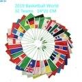 Флаги с ручной волной, с полюсом 2019, в виде корзины, Кубок для надписей, 32 страны, команды, небольшой бандир для фанатов клубов, для празднован...
