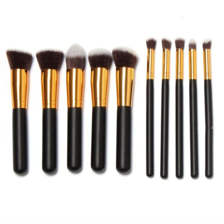 2017 hot sale Makeup Brush 10 Pcs Makeup Brushes Set Makeup Brushes Kit Draw String Makeup Bag  beauty health 17Jan 4