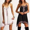 Moda Mulheres Sexy Vestido de Verão Sem Mangas Impressão Roupas Hippie Boho Vestido Sem Alças Praia Strapless Partido Curto Mini Vestido de Verão