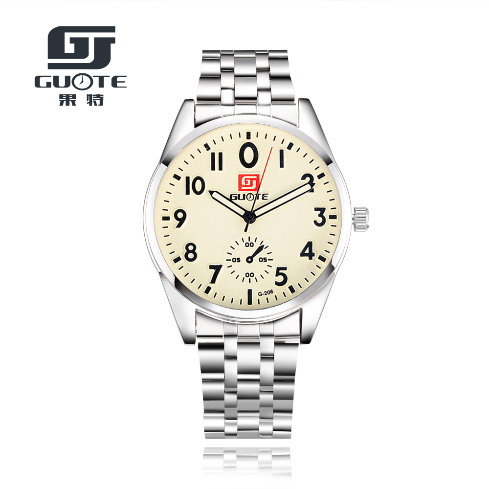 GUOTE 2016 New Casual Stainless Steel Watches Fashion Mens Watches Business Quartz Watch Men Wristwatches Reloj