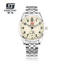 GUOTE 2016 Nuevo Informal de Acero Inoxidable Relojes Relojes De Moda Para Hombre de Negocios Reloj de Cuarzo Hombres Relojes de Pulsera Reloj Hombre