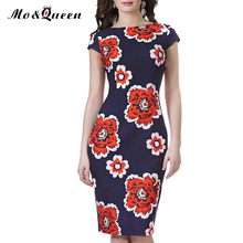 Floral Bodycon Women Dresses 2017 Fashion Open Slit Backless Summer Dress Women Short Sleeve Elegant Sheath Pencil Vestido Women