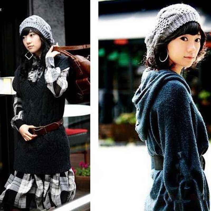 ... 2018 Korean Style Fashion Women Knitted Warm Winter Hats bonnet femme  Round Twist Pattern Beanies for ... 5f16f41a17a