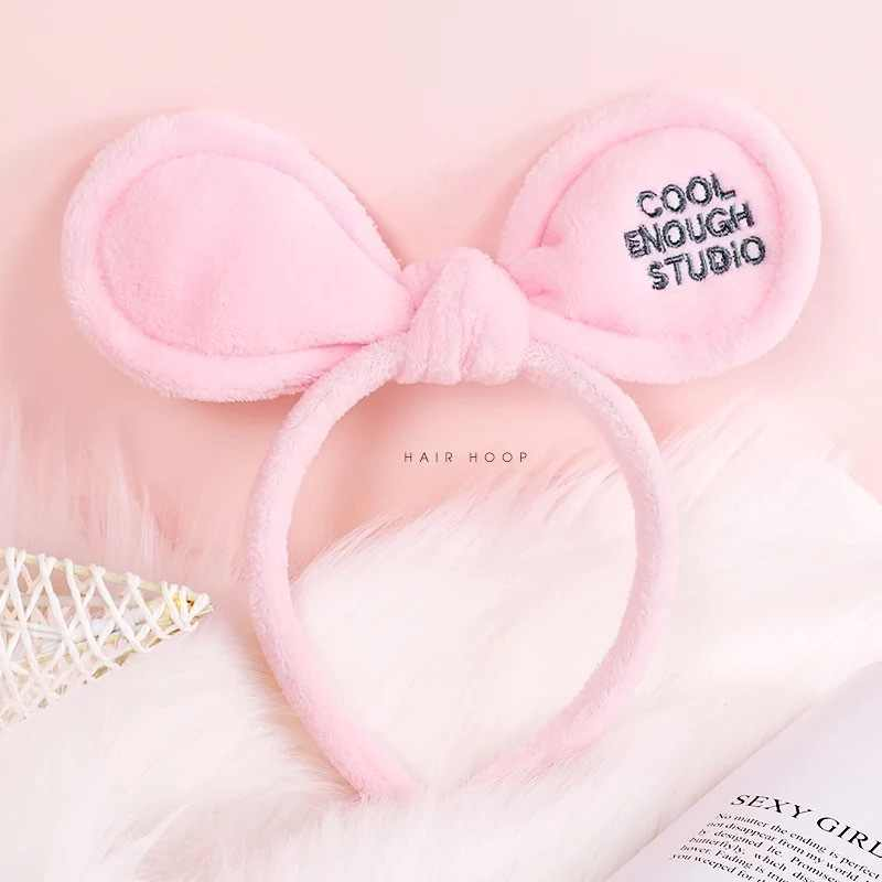 2019 New Rabbit Ear Headbands Embroidery Letters Makeup Shower Spa Mask Hairbands Elastic Soft Hair Bow Turban Hair Accessories