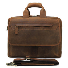 J.M.D Classic Crazy Horse Leather Office Handbag Briefcase For Business Bag Men 7395B