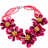 2018 Europe Brand Luxury Hot Pink Shell And Yellow Freshwater Pearl Choker Necklace Brand Jewelry 2018