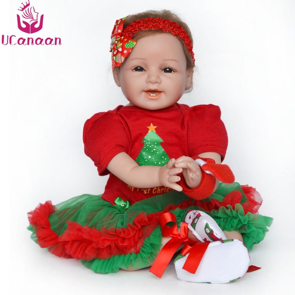 UCanaan 55CM 22'' Vinyl Doll Reborn Soft Silicone Toys For Girls Handmade Newborn  Baby Alive Dolls For Children Chirstmas Gifts ucanaan 55cm soft silicone doll reborn