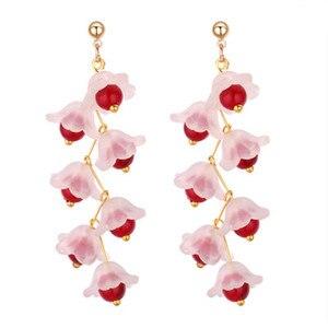 CHINA hand-made acrylic petal beaded long earrings Fashion Bloggers sweet pearl tassel earrings female G0692