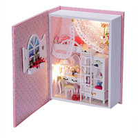 2015 DIY Wooden Doll House Of Baby Diary With Led Light Creative Book Model Miniature Dollhouse
