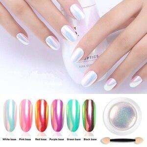 Image 2 - 1 Box Pearl Shell Glitter Nail Chrome Pigment Powder Dazzling DIY Micro Holographic Unicorn Nail Art Decorations Polish Manicure