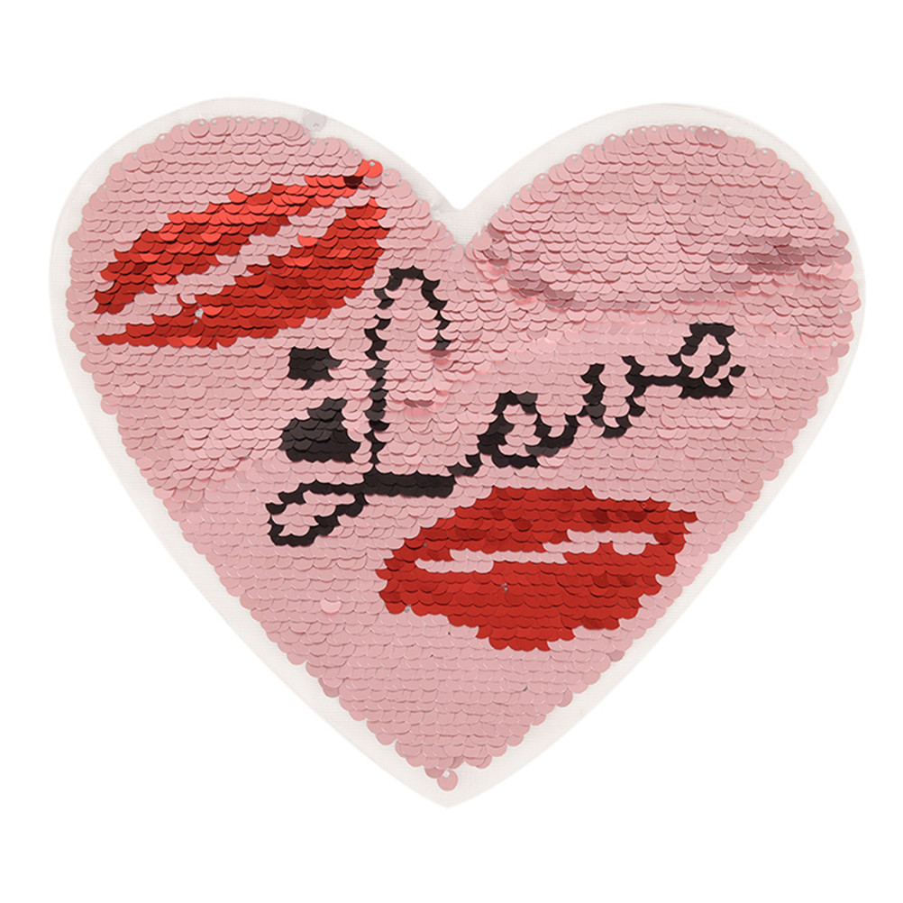 balloon love heart reversible change sequin sew on clothes patch diy t-shirt JB