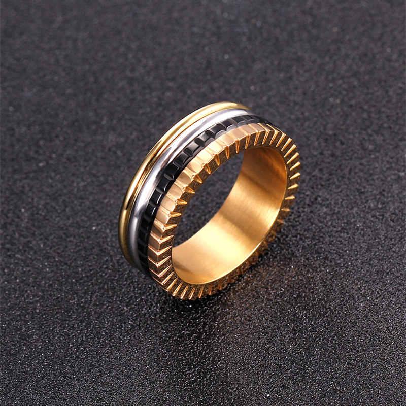 """Nuevo anillo de cerámica de acero de titanio de 6mm, anillo rotativo de amor """"H"""", anillo Rosa esmaltada 14KGP para mujer"""