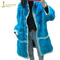 LVCHI 2018 Import Velvet Mink Coat Women S Long Sleeve Pure Color Slim Causal X Long