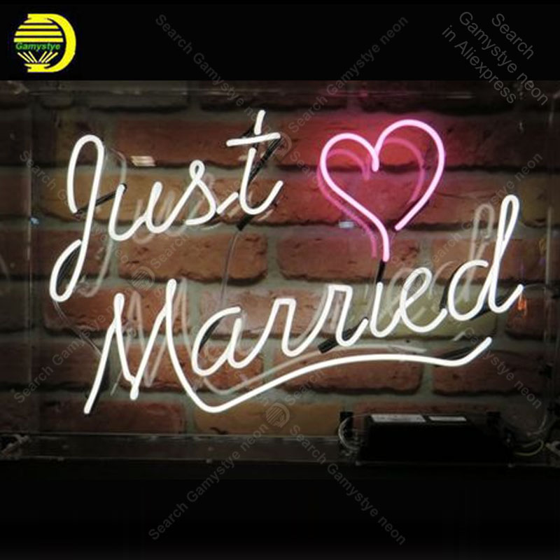 Us 132 44 23 Off Neon Sign For Just Married Bulb Handcraft Love Gift Gl Light Decorate Room Wall Lamps Advertise Display In