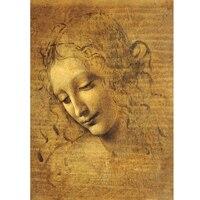 La pintura famosa del mundo rompecabezas viso di giovane fanciulla por Orlando Leonardo da Vinci 3D madera papel 1500 unids rompecabezas