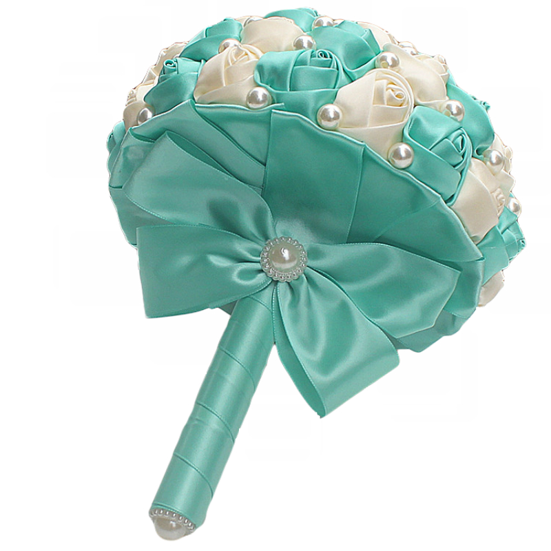 Image 5 - Best Selling Pure Handmade Mint Green Ivory Pearl Beaded Bridal Bouquet Simple Hand Holding Bow Flowers Wedding Bouquet  W322 1-in Wedding Bouquets from Weddings & Events