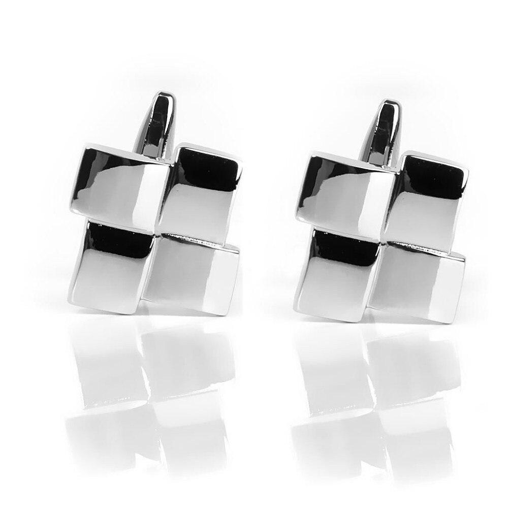 HTB10GwmJVXXXXXgXpXXq6xXFXXXC - Men's Gingham Silver Cufflinks