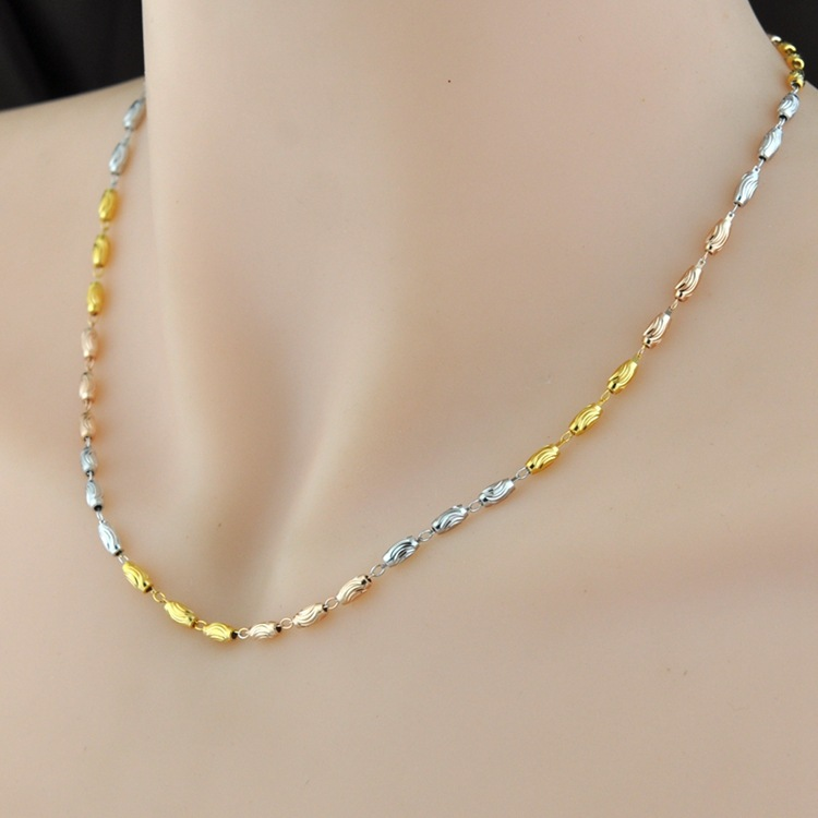 925 silver plated silver contracted coarse Mosaic gold necklace color silver transport bead necklace stylish five flowers silver plated necklace page 5