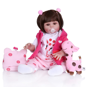 Image 3 - New Full body soft silcone waterproof 48CM newborn bebe doll reborn doll baby girl in pink dress realistic baby Bath toy