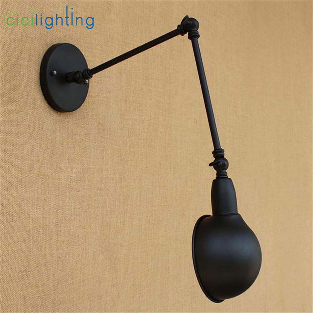 AC100 240 Wall sconces lamp Black double long arm Dining Restaurant ...
