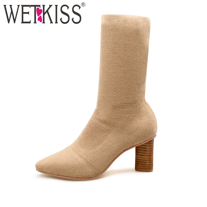 2018 Fashion Ladies Socks Boot Slip on Stretch Fabric Short Female Boots Women Thick High Heels Shoes Woman Cozy Weave Boot fonirra women stretch knit ankle boots fabric shoes striped heel socks boots round toe women slip on high heels female boots 682