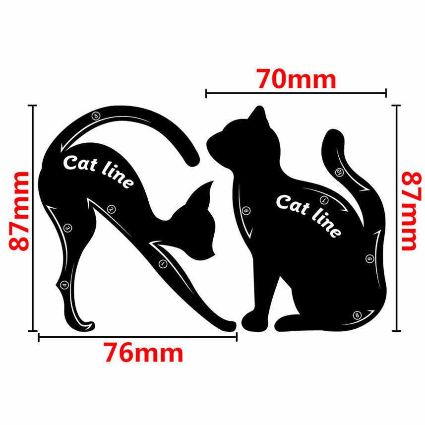 העסקה הטובה ביותר 2Pcs נשים של חתול קו פרו עין איפור כלי אייליינר שבלונות תבנית מעצב דגם גבות בחדות עיצוב x4 0.5 10