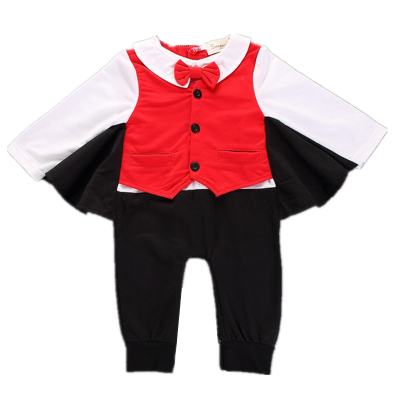 2017 Autumn baby boys cotton long sleeve Angel wings rompers infant casual clothes spring kids outwear gentleman jumpers 17A801