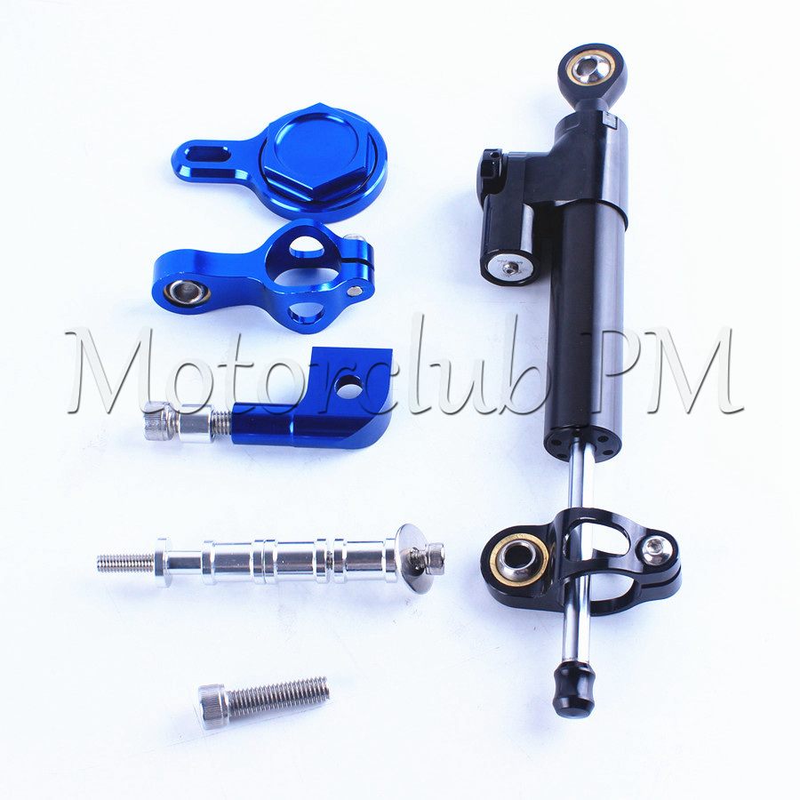 For Yamaha YZF R1 Steering Damper Stabilizer With Mounting Bracket Kit YZF-R1 1999-2005 Blue Motorcycle Accessories New for ktm 200 duke 2013 2014 390 duke 2014 2015 2016 motorcycle accessories steering damper stabilizer with mounting bracket kit