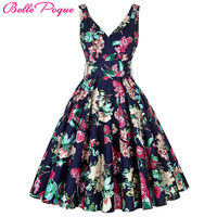 New Fashion Women Summer Dress Vestidos Plus Size 50s Pin Up Rockabilly Vintage Dresses Sleeveless V