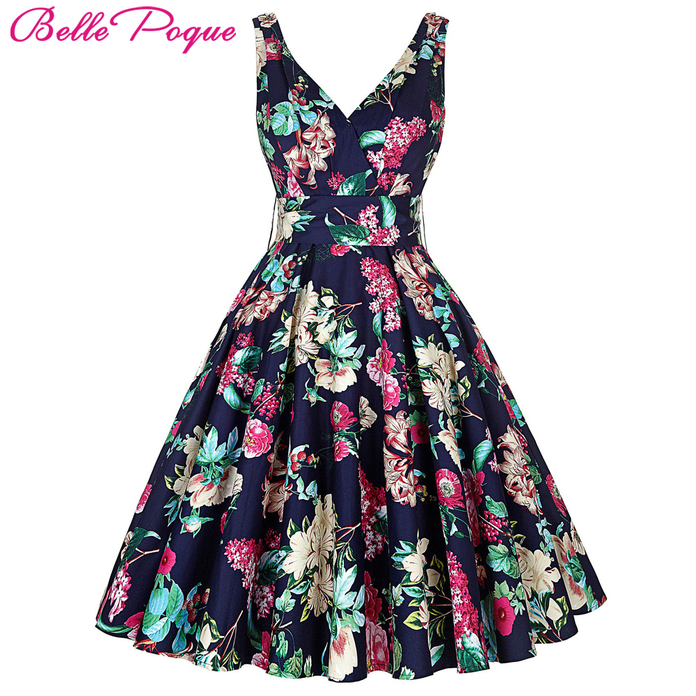 Buy Cheap New Fashion Women Summer Dress Vestidos Plus Size 50s Pin Up Rockabilly Vintage Dresses Sleeveless V-Neck Tunic Sexy Party Dress