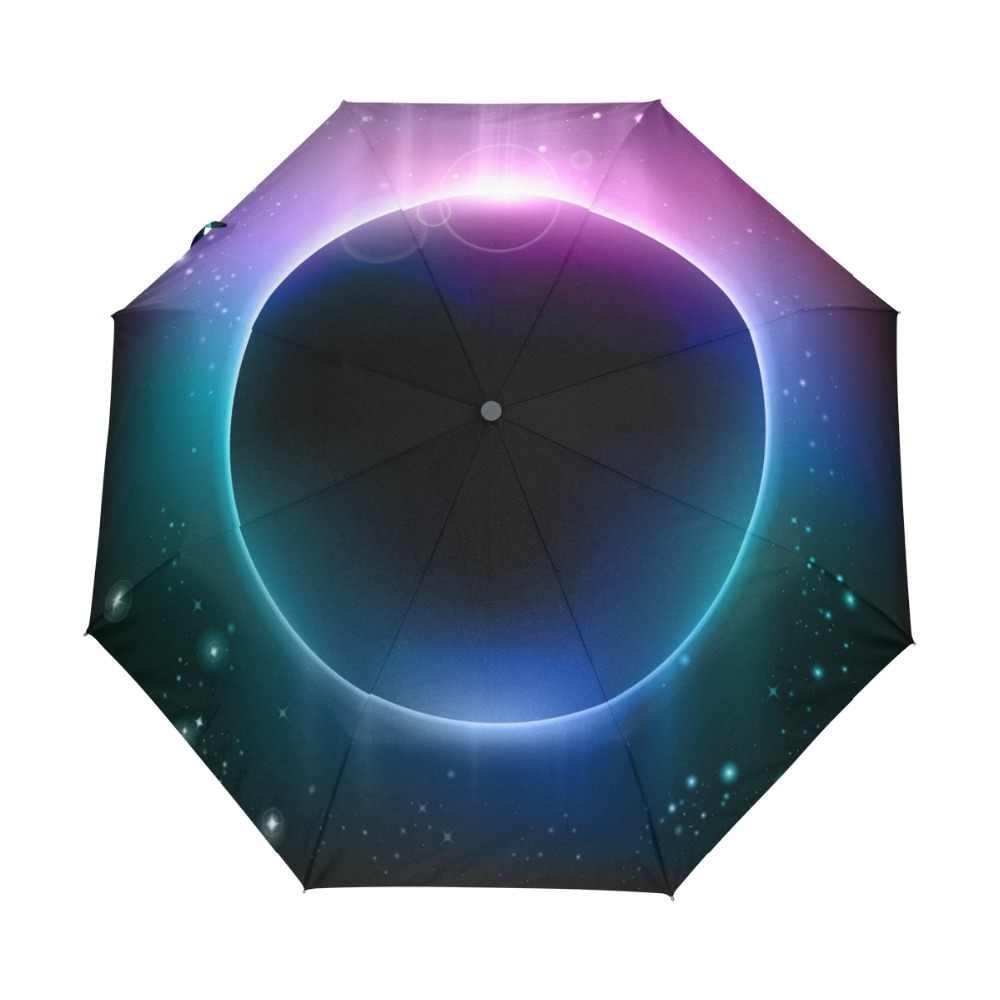 Arc-en-ciel lumière rêve planète parapluie crème solaire Anti UV trois pliant soleil et pluie parapluie pour femmes et hommes avec sac de transport