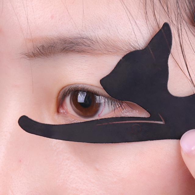 2PCS/set Women Cat Line Pro Eye Makeup Tool Eyeliner Stencils Beauty Eyebrow Template Shaper Model women girl