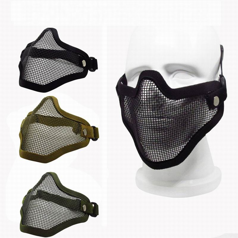60pcs Safety Protection Mask CS GO Tactical Helmet Half Lower Face Mesh Metal Steel Net Hunting