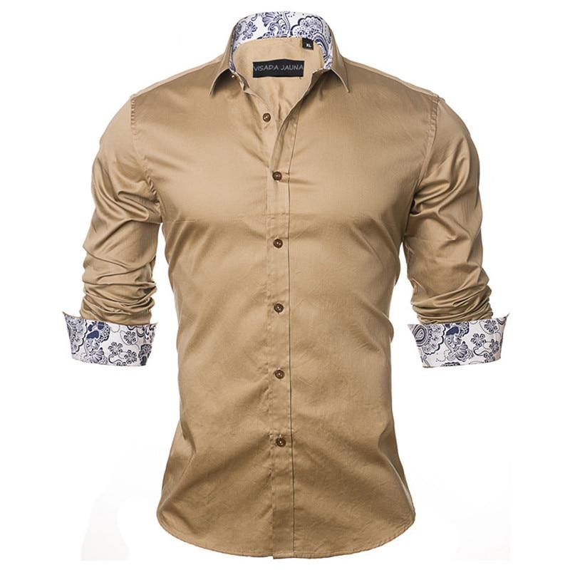VISADA JAUNA Men's Shirt 2019 Fashion Casual Long Sleeve Solid 100% Cotton Slim Fit Dress Business Shirts Men Brand Clothing 5XL 2