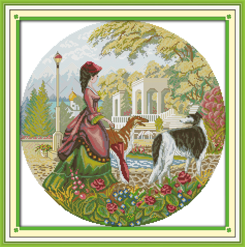 Lady And Dog (2), Counted Printed On Fabric DMC 14CT 11CT Cross Stitch Kits,embroidery Needlework Sets, Home Decor