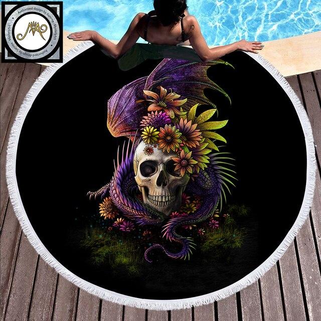 Flowery Skull by SunimaArt Large Round Beach Towel Microfiber Serviette De Plage Tassel Blanket Summer Toalla Gothic Sunblock