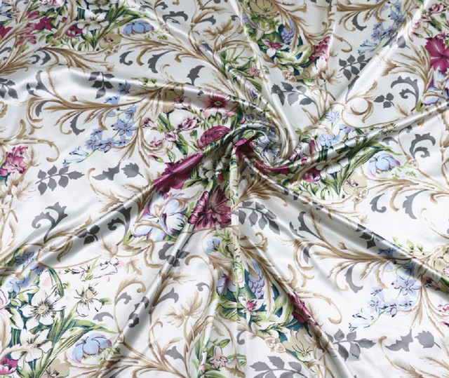 49cd8a81586d White Lily Flowers Satin Fabric For Gowns light color evening wear clothing  material textile 100 148cm