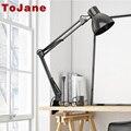 Tojane tg801 swing longo braço da lâmpada de mesa conduziu a lâmpada de mesa escritório Bureau Lampe Levou Lâmpada de Mesa Levou Luz de Leitura Em Casa clipe