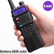Baofeng Walkie Talkie UV 5R portátil, 8W, 3800mAh, 10KM, juego de radio cb de largo alcance, 8 vatios, UV5R, para la ciudad del bosque