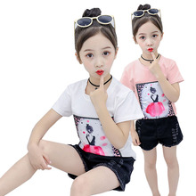 Summer Girl Clothes Short-sleeved T-shirt Cartoon Princess Pattern Print Cotton Baby 3-10 Y Child Quality Clothing 2019 Hot Sale