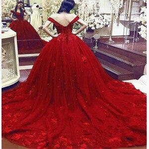 Image 2 - Vestido De Noiva 2020 럭셔리 레드 웨딩 드레스 Sweetheart Lace Applique 3D 꽃 신부 드레스 채플 트레인 웨딩 드레스