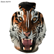 Domi ketty boys girls hoodies clothes 3D print tiger animals children long sleeve sweatshirts kids baby casual outwear tops