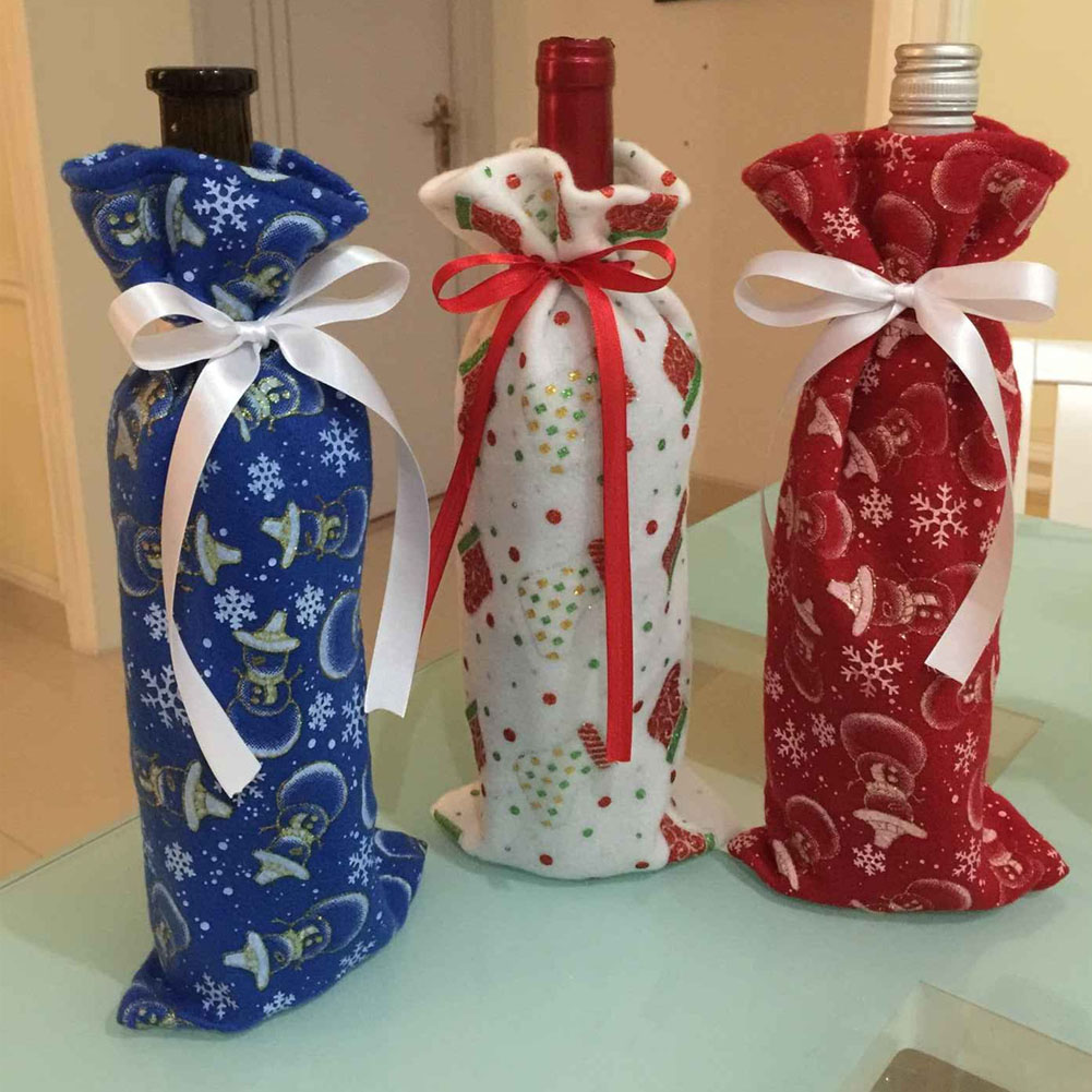 Beauty Christmas Blue Bottle Cover Home Dinner Decoration Table Decor Snowman Print Bag On Wine Bottle Christmas Gifts Supplies