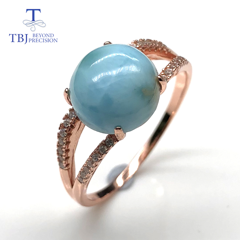 rose gold 925 sterling silver larimar rings natural round 10mm gemstone fine jewelry for wife nice