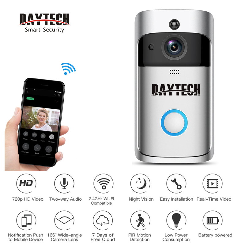 DAYTECH Wireless Video Doorbell Ring Alert Intercom Door Bell Monitor Camera Two Way Audio Battery Powered Remote APP ControlDAYTECH Wireless Video Doorbell Ring Alert Intercom Door Bell Monitor Camera Two Way Audio Battery Powered Remote APP Control