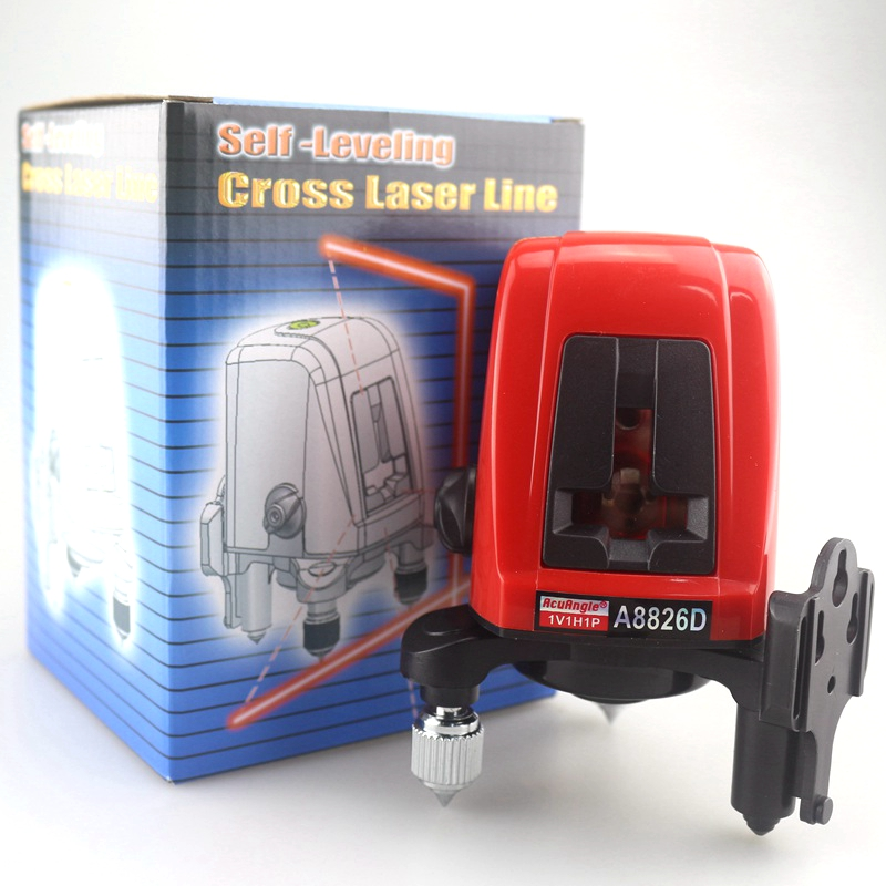 ACUANGLE A8826D 2 Red Lines 1 Point Laser Level Tape Measure 360 degree Self- leveling Cross Laser Levels